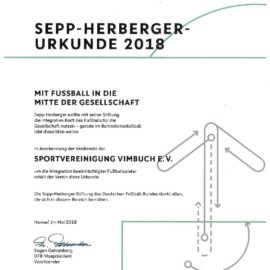 SVV erhält Sepp-Herberger-Urkunde 2018